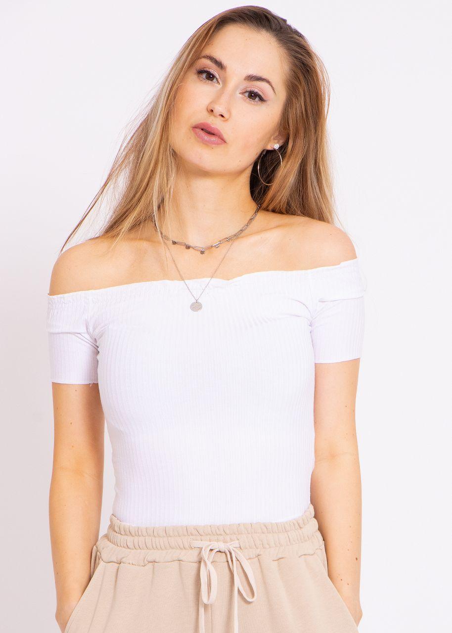 Crop shirt with carmen neckline, white