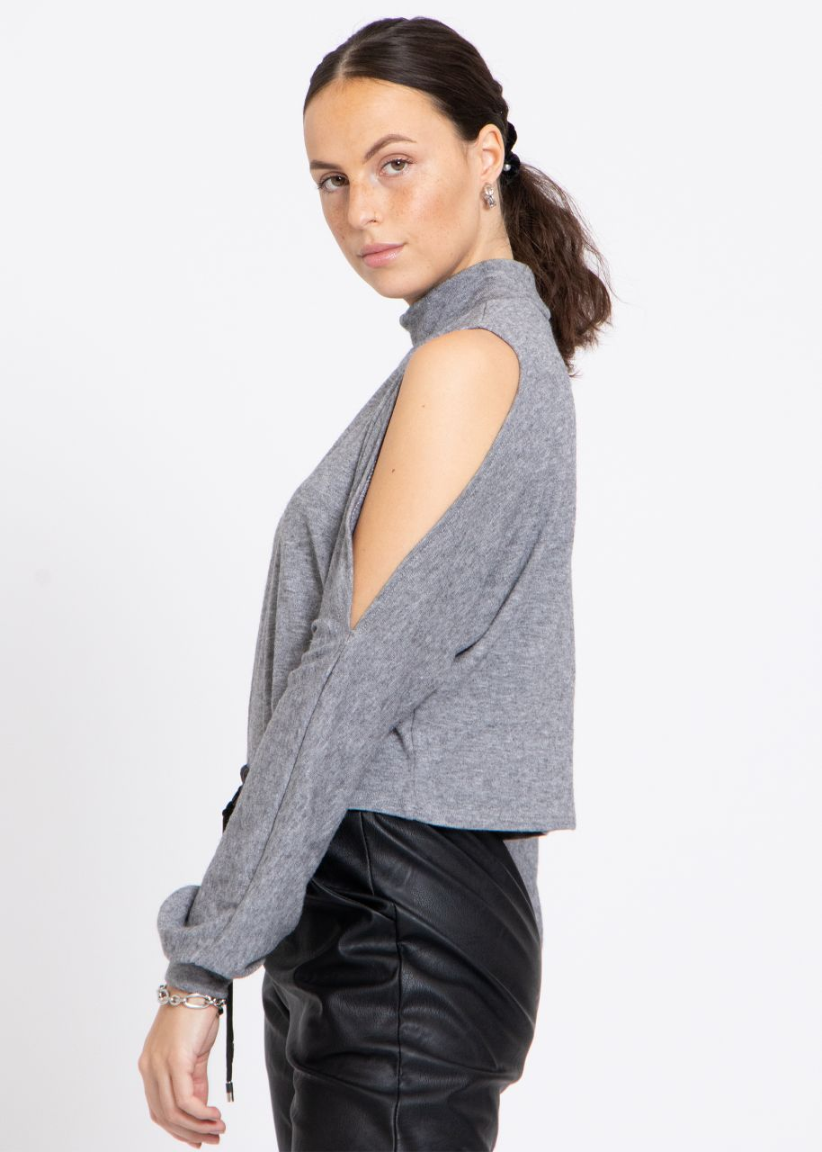Casual shirt with cut-outs, grey