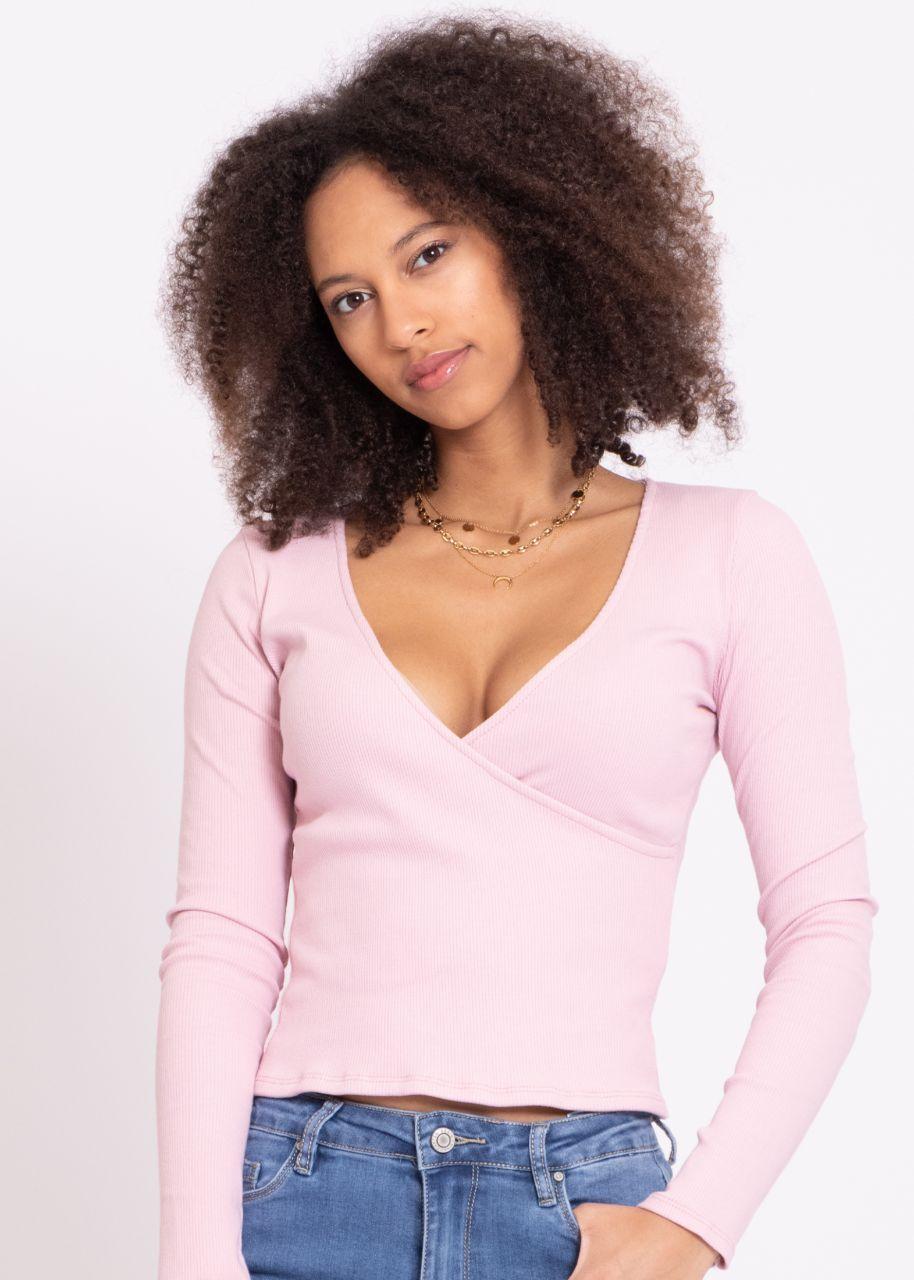 Jersey shirt with wrap optics, pink