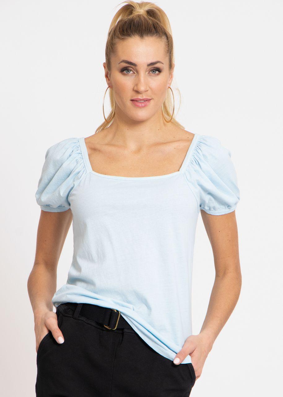 T-shirt with square neckline, light blue