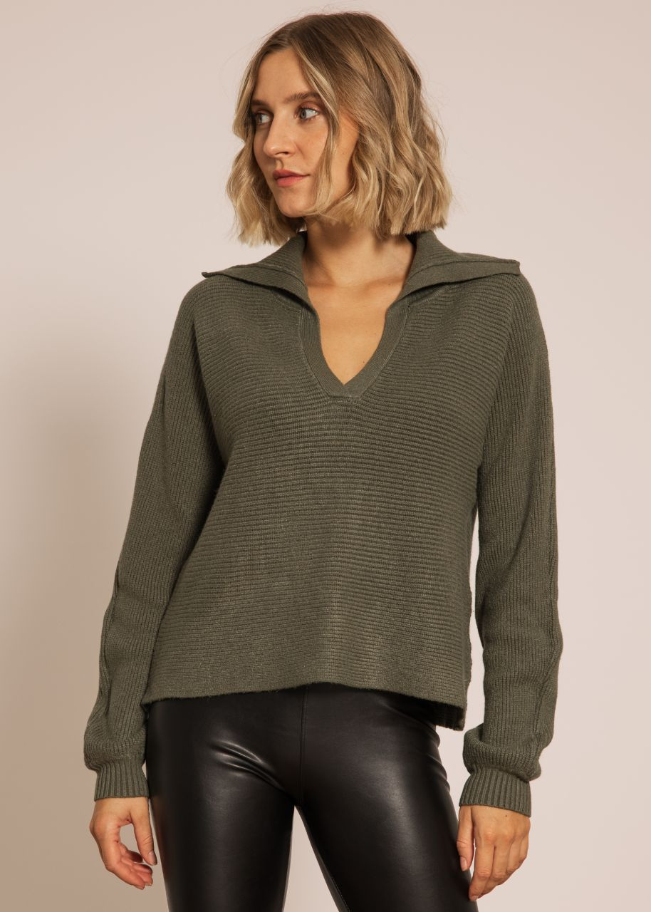 Pullover mit Kragen, khaki