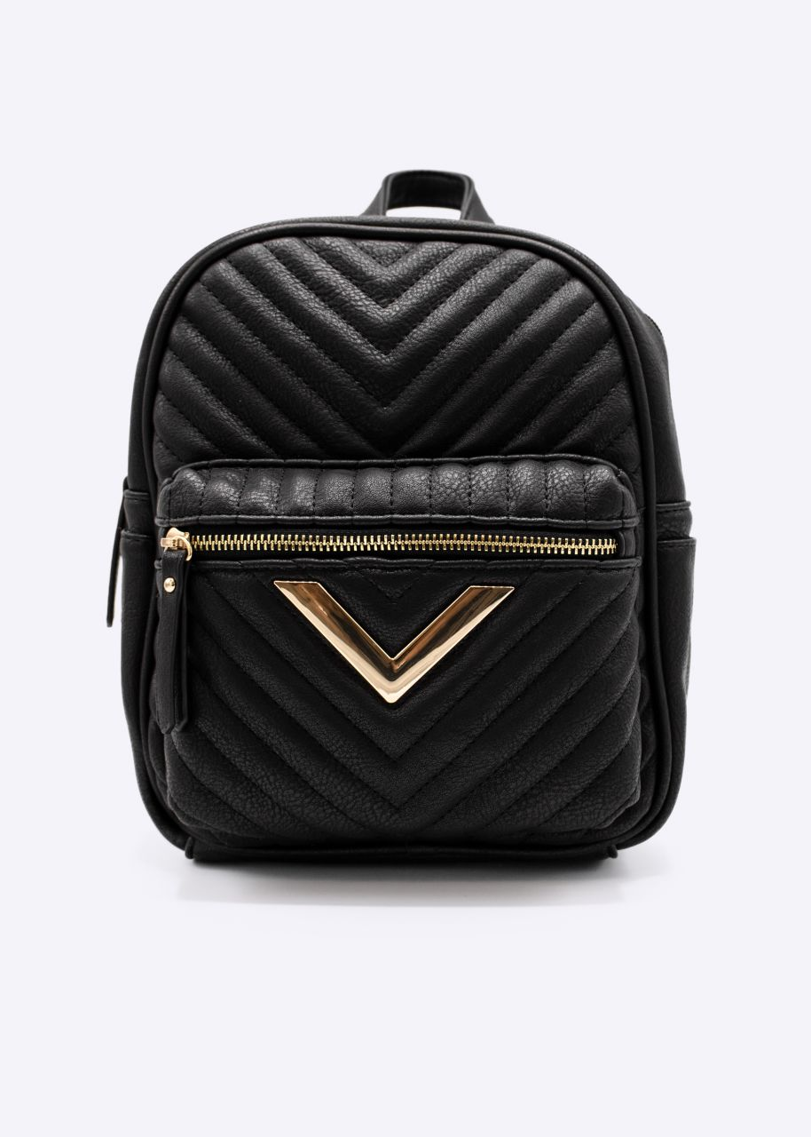 Mini backpack with gold detail, black