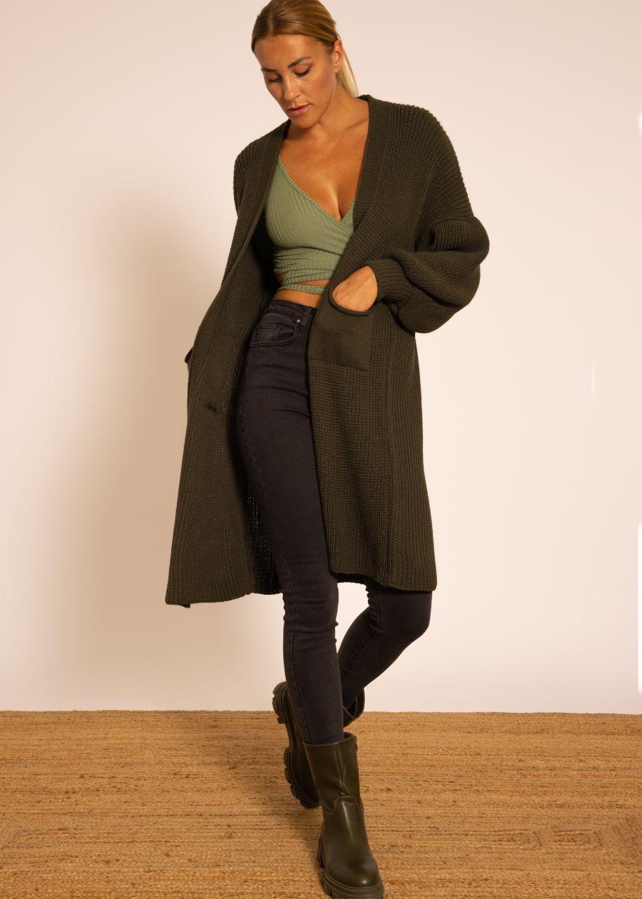Maxi Cardigan mit Taschen, dunkelgrün