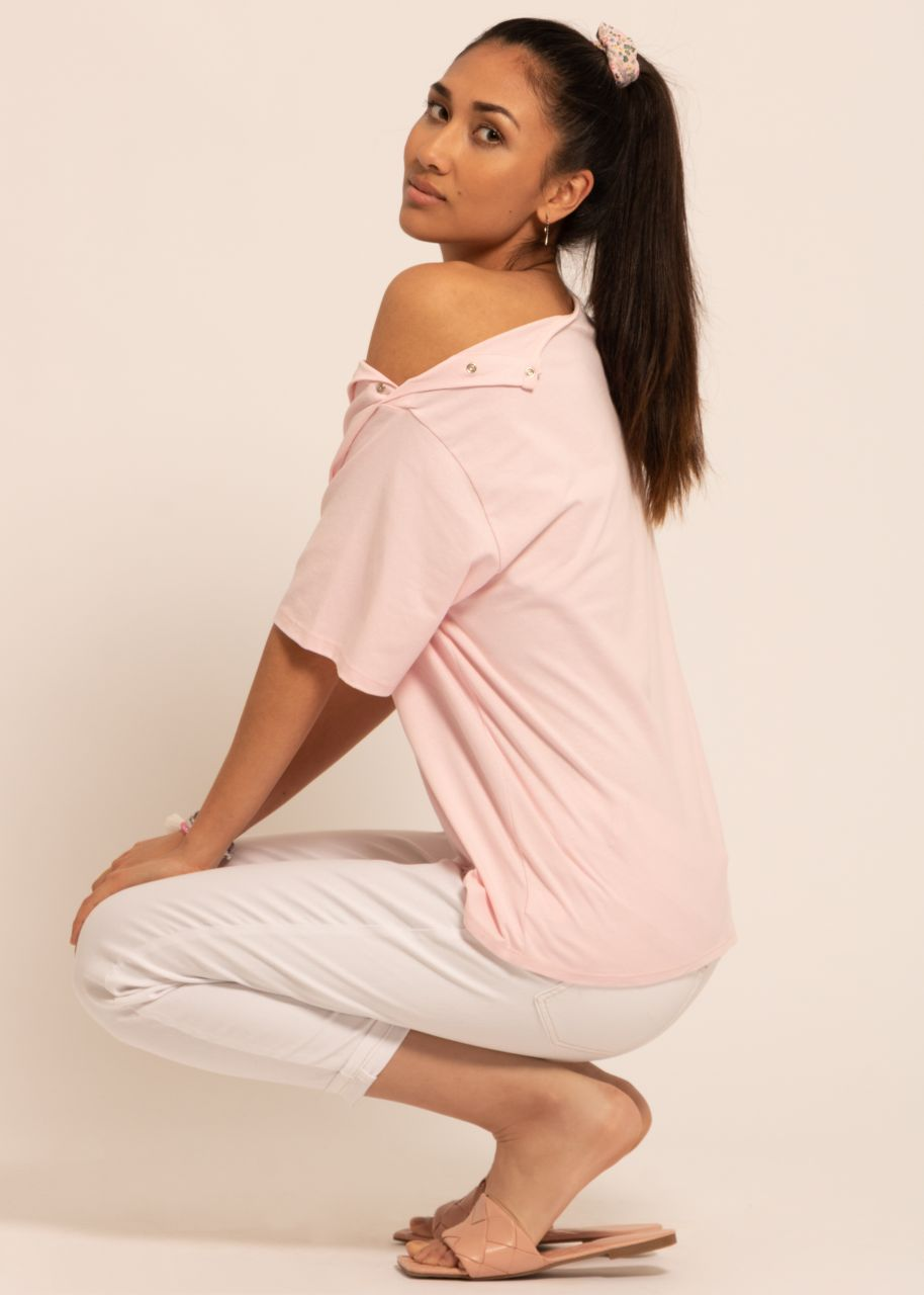 Oversize T-shirt with press studs, pink