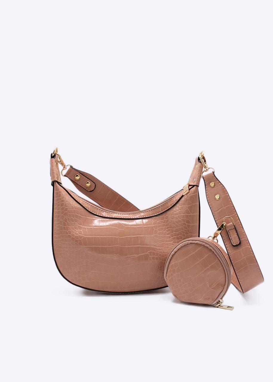 Shoulder bag with extra pocket, pink