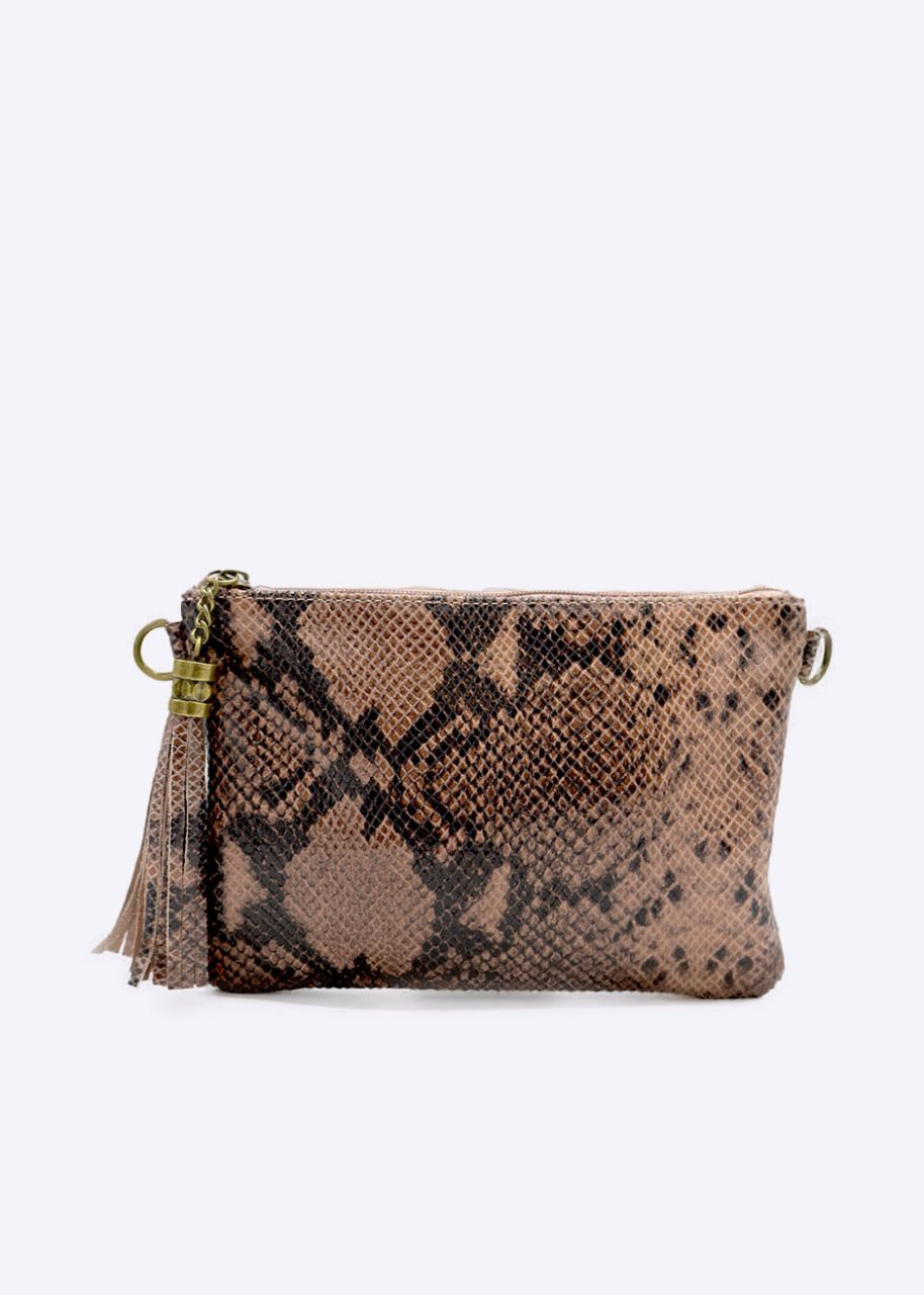 leather bag with snake embossing, pink