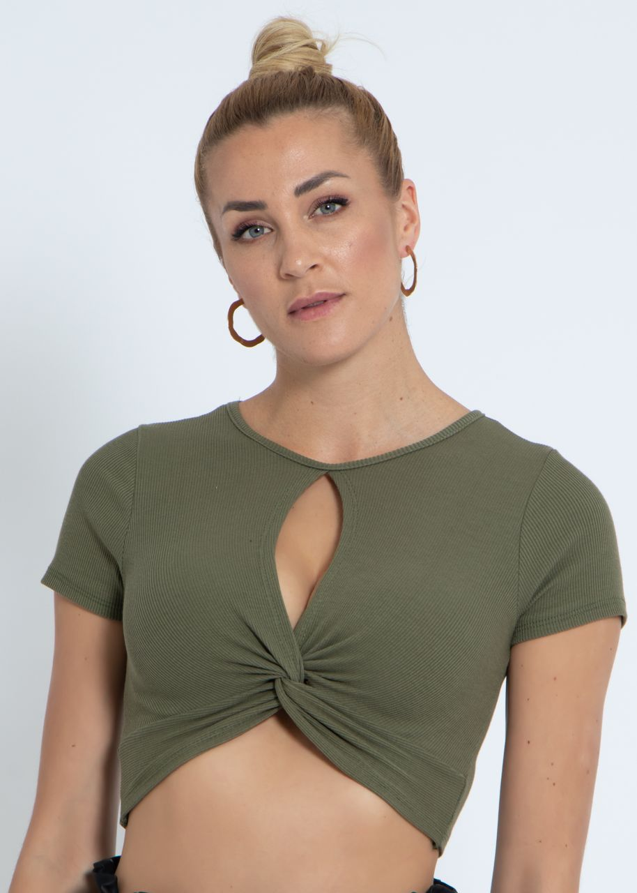 Crop shirt with slit, khaki
