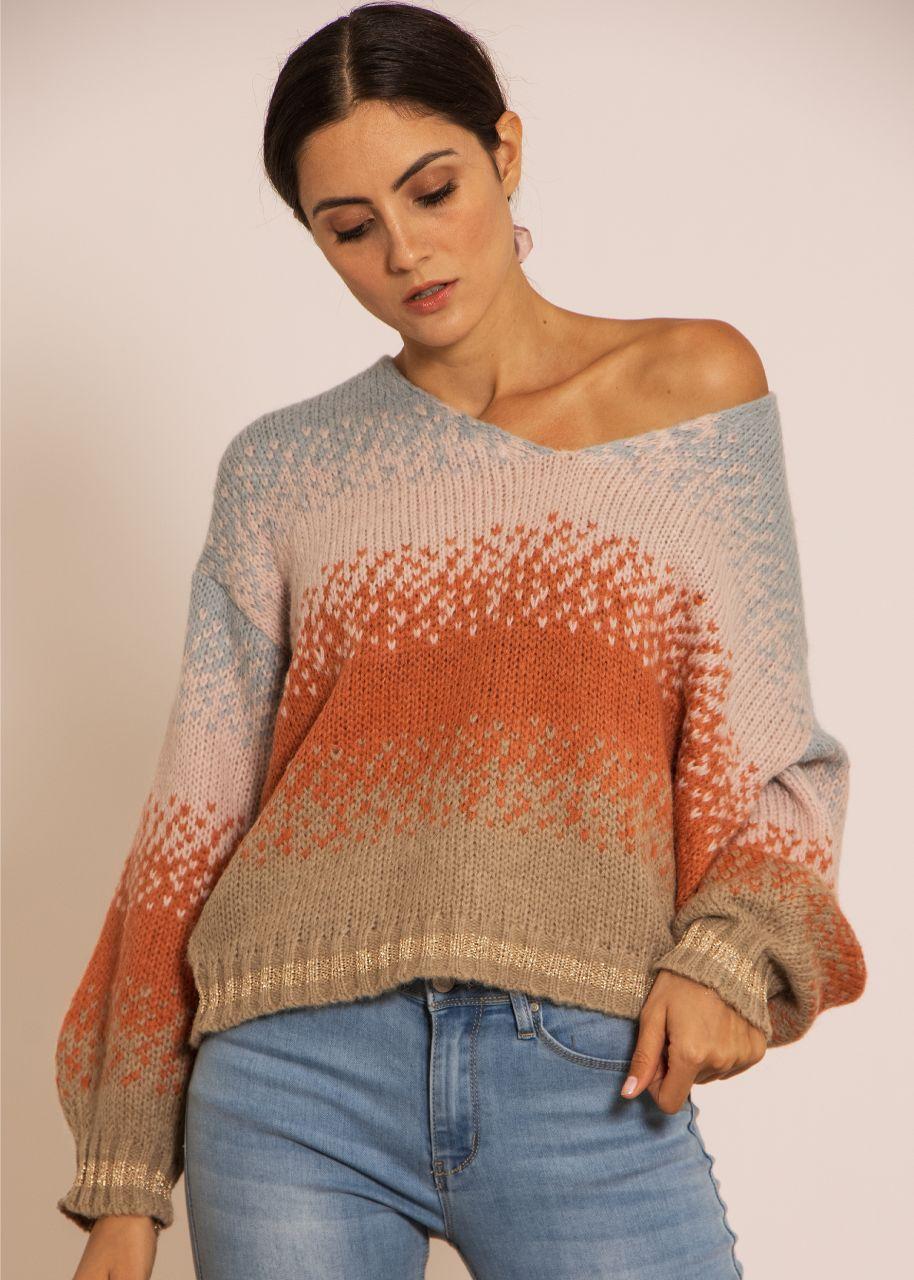 Oversize Pullover mit Streifenmuster, hellblau/lachs/taupe