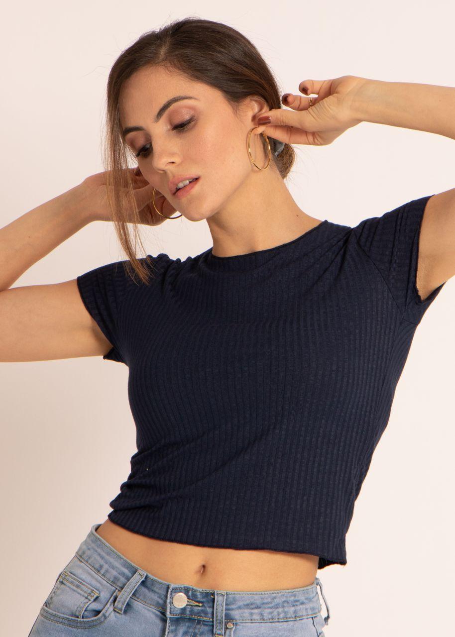 Crop-Shirt, blau