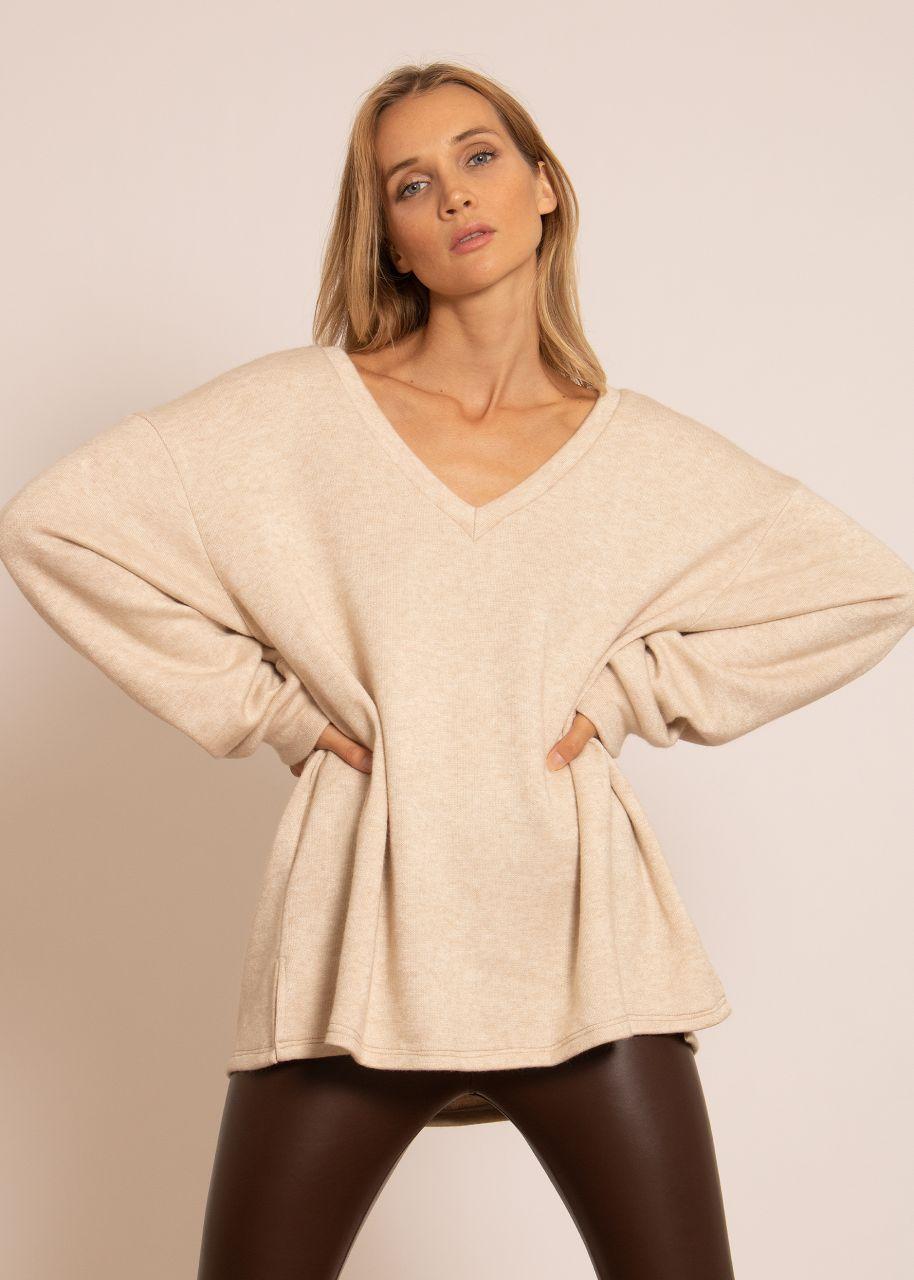 Oversize Sweater mit tiefem V-Ausschnitt, beige