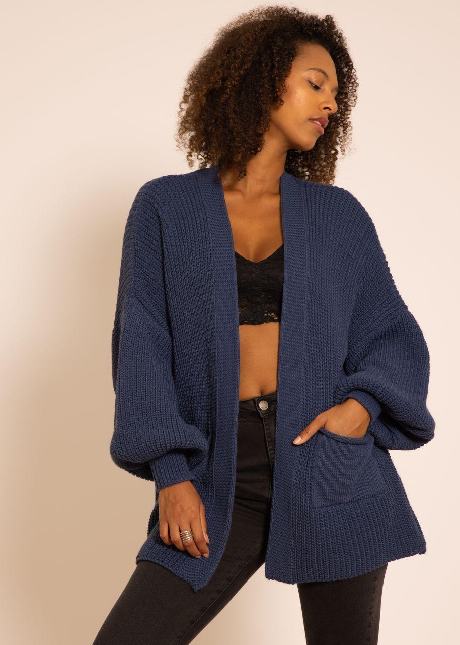 Strick-Cardigan mit Taschen, jeansblau
