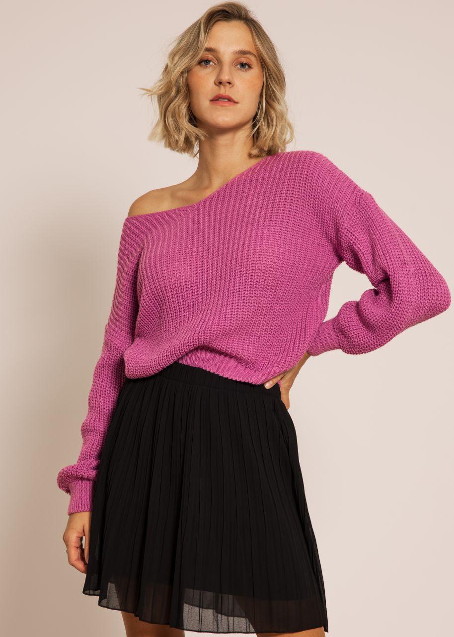 Rippen-Pullover mit V-Ausschnitt, mauve