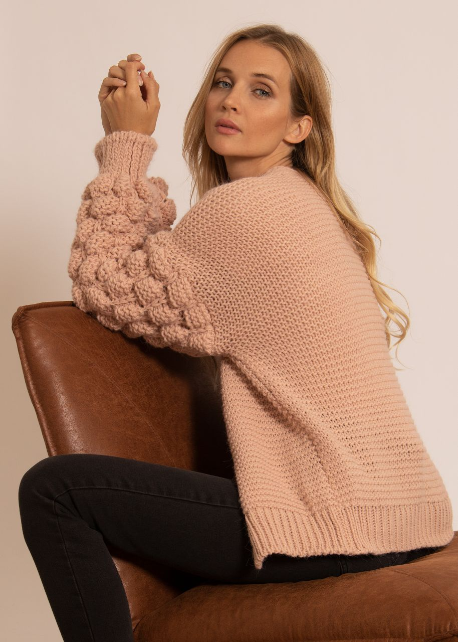 Soft cardigan with voluminous sleeves, pink