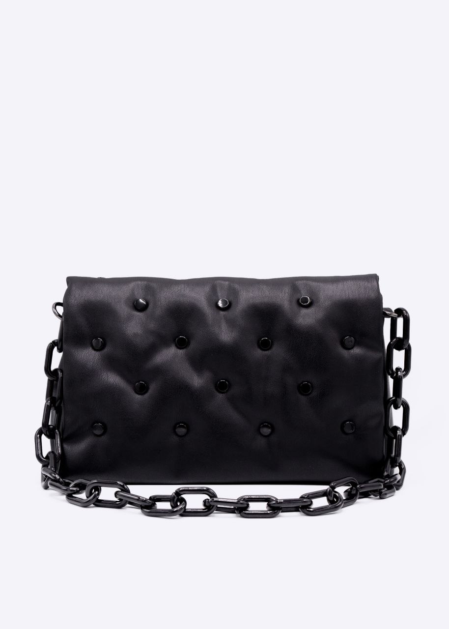 Shoulder bag with quilting and decorative chain, black