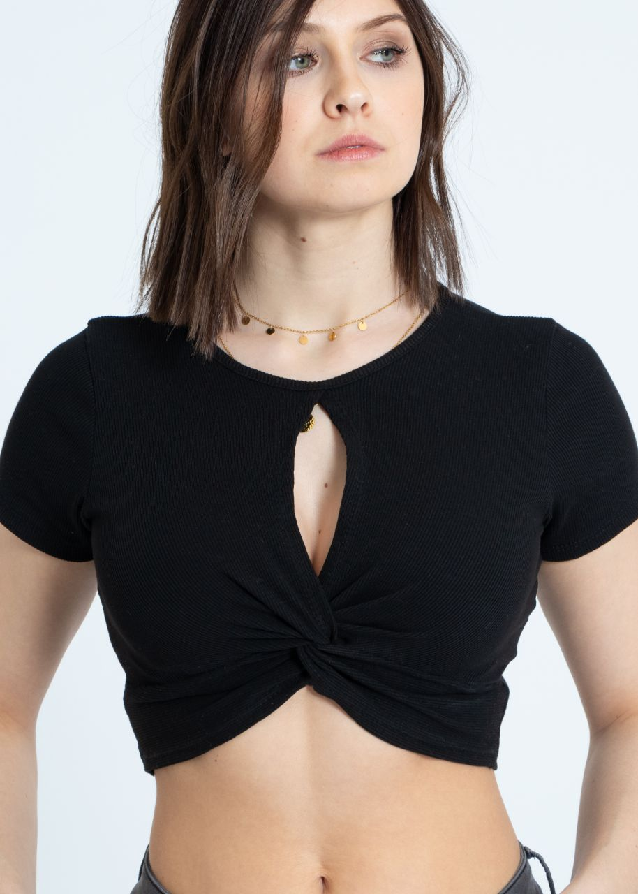 Crop shirt with slit, black