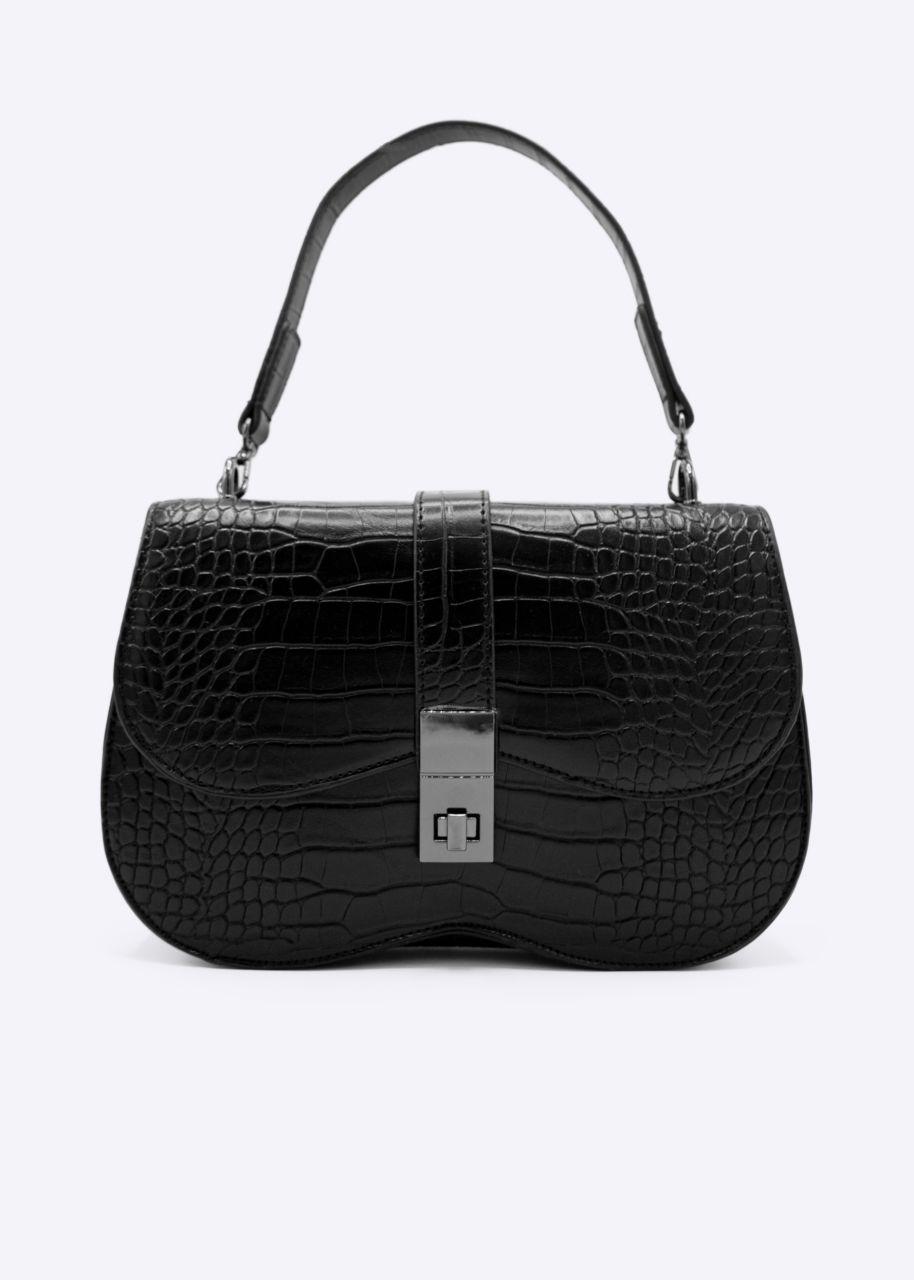 Crocodile bag with flap, black