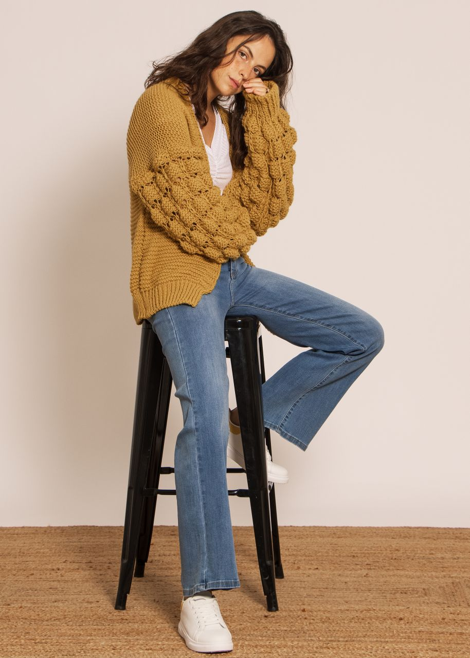 Soft cardigan with voluminous sleeves, ochre