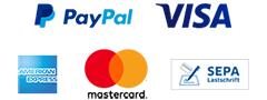 Paypal, Visa, Kauf auf Rechnung, American Express, Mastercard, SEPA credit transfer
